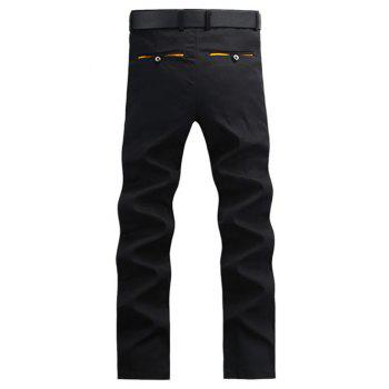Casual droites Bouton Leg Pocket Chino Pants - Noir 30