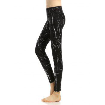 Stretchy Printed Slimming Gym Pants - BLACK L
