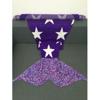 Warmth Stars Pattern Knitted Mermaid Tail Blanket - PURPLE