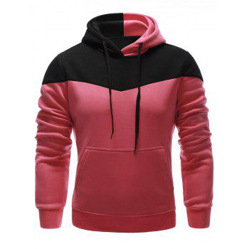 IZZUMI Classic Color Block Front Pocket Hooded Long Sleeves Men's Hoodie - RED L