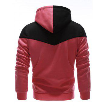 IZZUMI Classic Color Block Front Pocket Hooded Long Sleeves Men's Hoodie - RED M