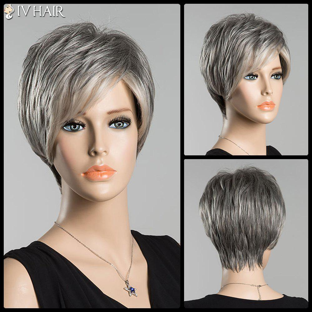 Short Fluffy Straight Inclined Bang Ombre Siv Human Hair Wig - COLORMIX
