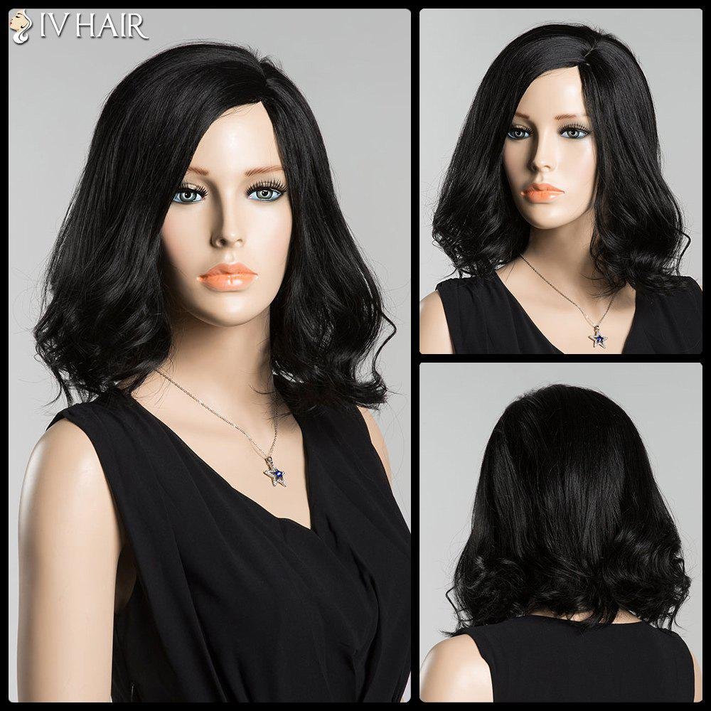 Medium Tail Curly Side Parting Siv Human Hair WigHair<br><br><br>Color: JET BLACK