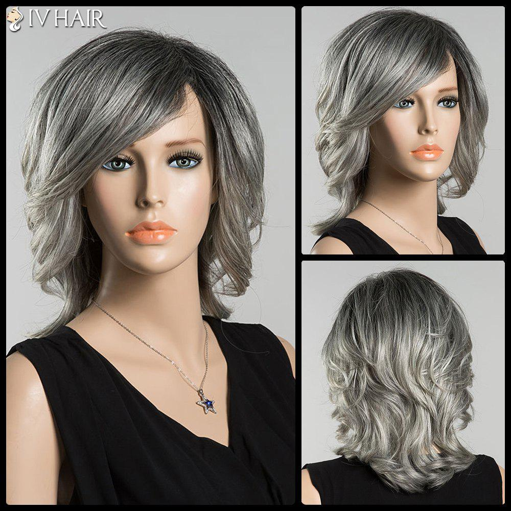 Medium Side Bang Mixed Color Tail Curly Siv Human Hair Wig