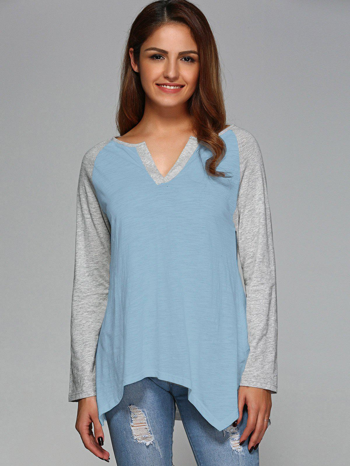 Raglan Sleeve Asymmetrical T-Shirt - LIGHT BLUE M