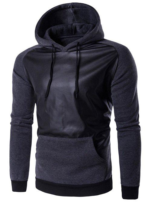 PU Leather Panel Raglan Sleeve Hoodie - DEEP GRAY L