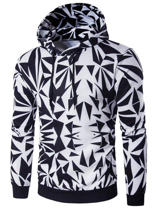 Irregular Rhombus Print Long Sleeve Hoodie - COLORMIX XL