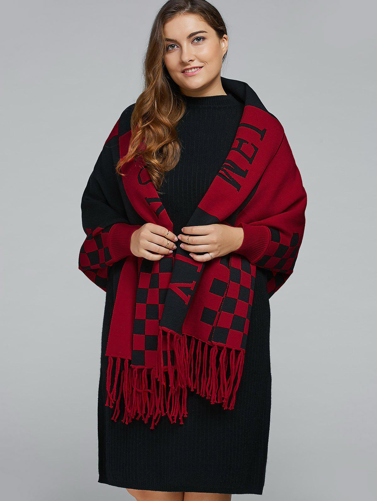 Plus Size Plaid Fringe Cape CardiganWomen<br><br><br>Size: ONE SIZE<br>Color: WINE RED