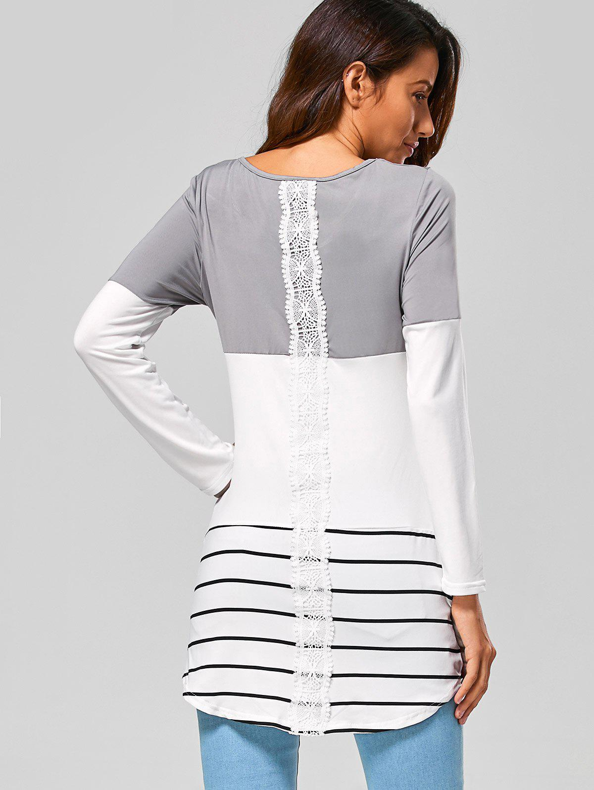 Long Striped Lace Panel Long Sleeve T-Shirt - GRAY S