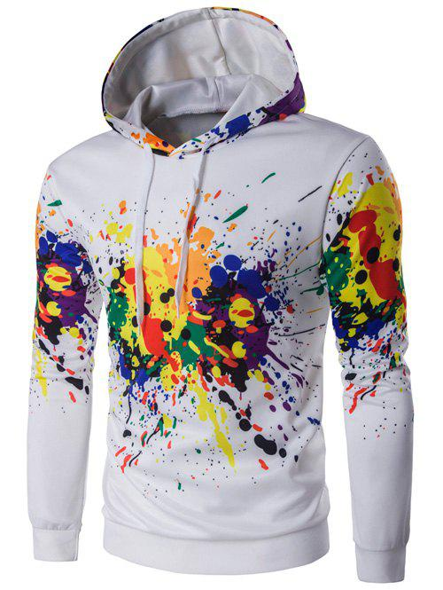 Colorful Splatter Paint Long Sleeve Hoodie - WHITE XL