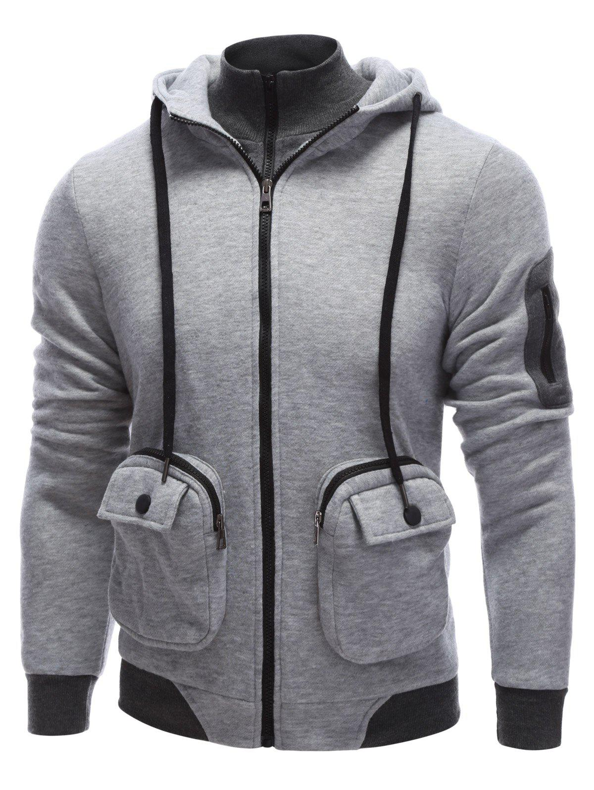 Zip Drawstring Sweatshirt à capuche Pocket - Gris S