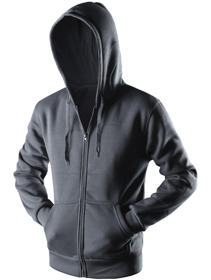 Zipper Up Kangaroo Hoodie Pocket - gris M