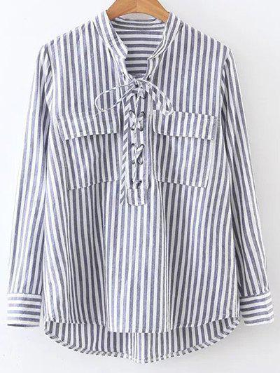 Stand Neck Striped Lace Up Front Shirt - STRIPE M