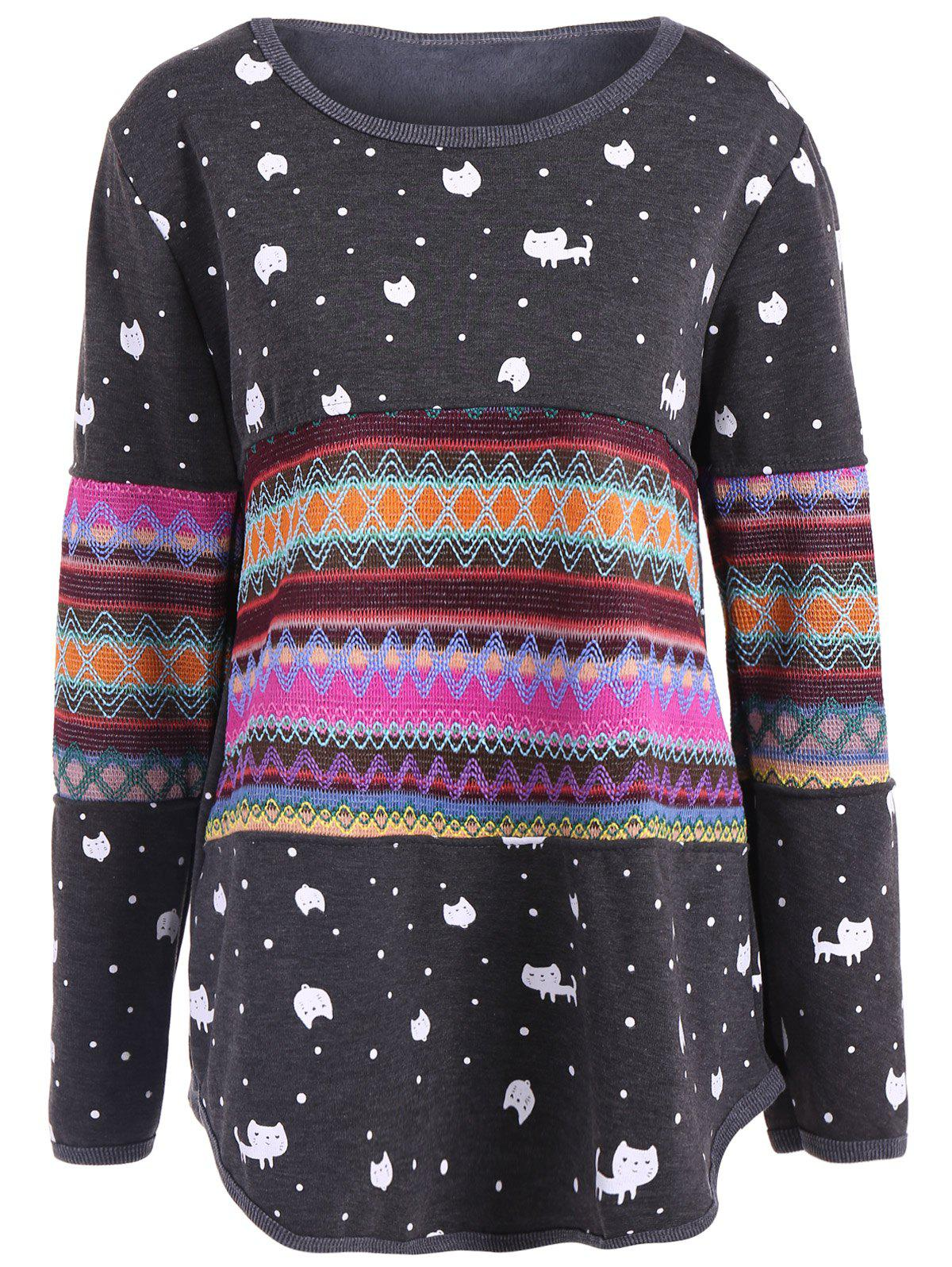 Color Block Kitten Pattern Zigzag Top - DEEP GRAY M