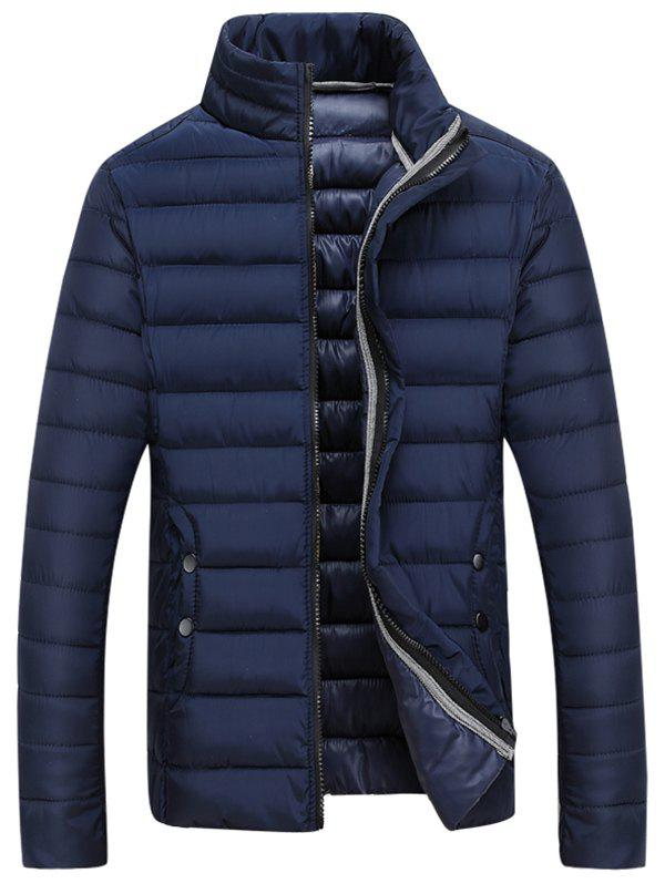 Buy Zipper Fly Stand Collar Padded Coat BLUE