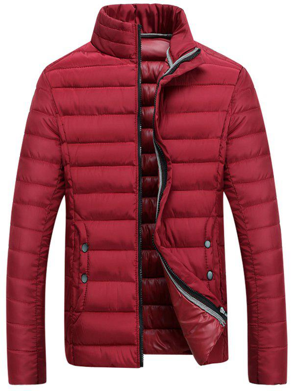 Buy Zipper Fly Stand Collar Padded Coat RED