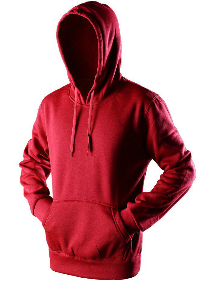 Kangaroo Pocket Drawstring Pullover Hoodie - RED M