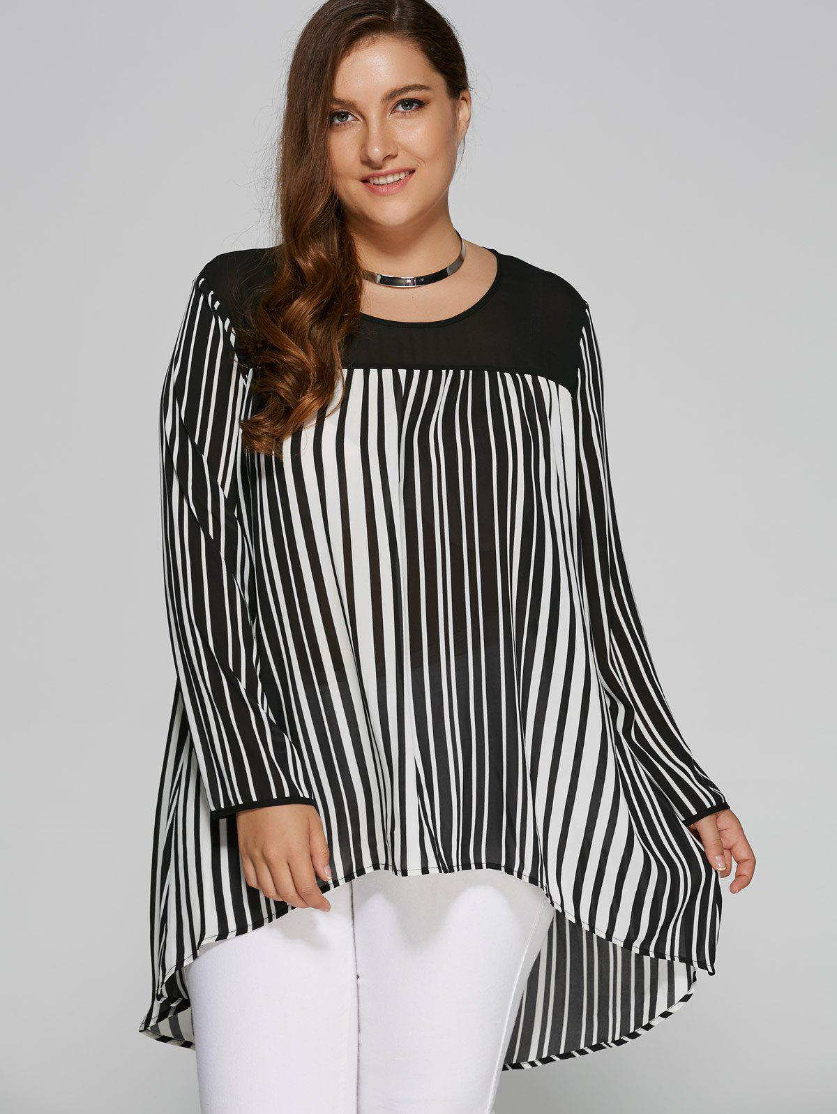 Plus Size High Low Hem Striped Blouse - WHITE/BLACK XL