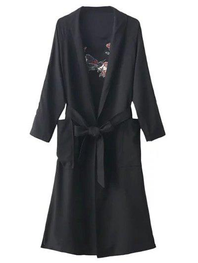 Floral Embroidered Side Slit Belted Maxi Long Duster Coat - BLACK ONE SIZE