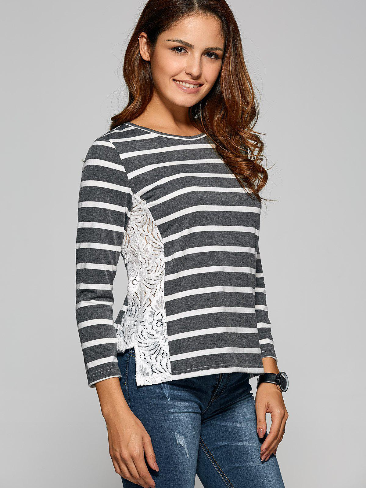 Side Slit Lace Panel Striped T-ShirtWomen<br><br><br>Size: M<br>Color: DEEP GRAY