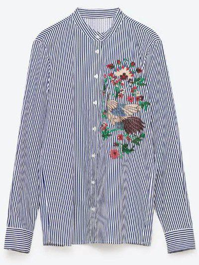 Flower Embroidered Striped Shirt - STRIPE S