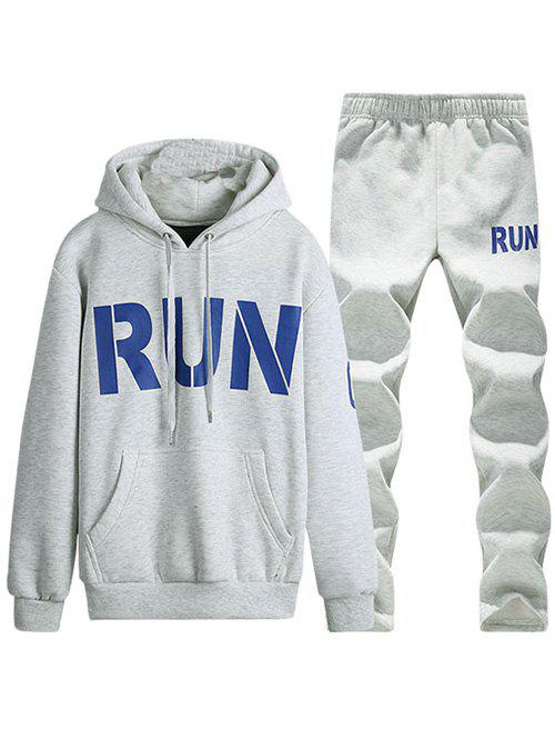 Run Printed Kangaroo Pocket Pullover Hoodie Twinset - LIGHT GRAY L