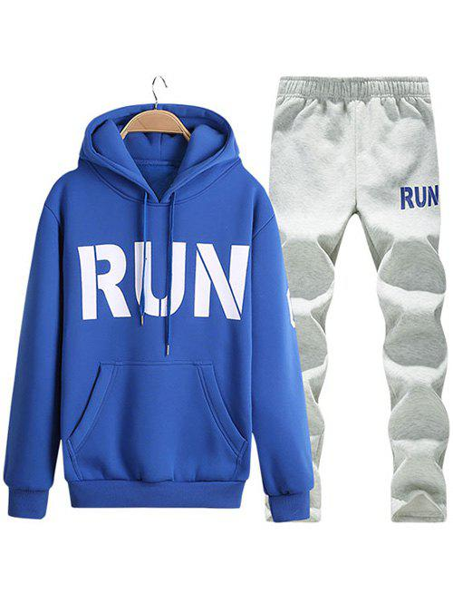 Run Printed Kangaroo Pocket Pullover Hoodie Twinset - BLUE XL
