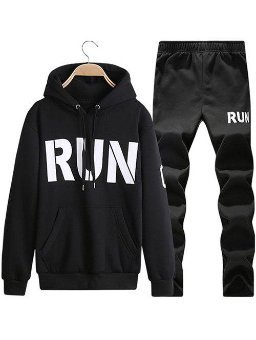 Run Printed Kangaroo Pocket Pullover Hoodie Twinset - BLACK XL