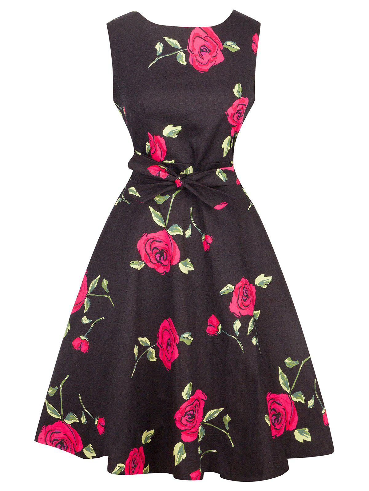Vintage Tie-Waist Rose Print Slimming Dress - RED L