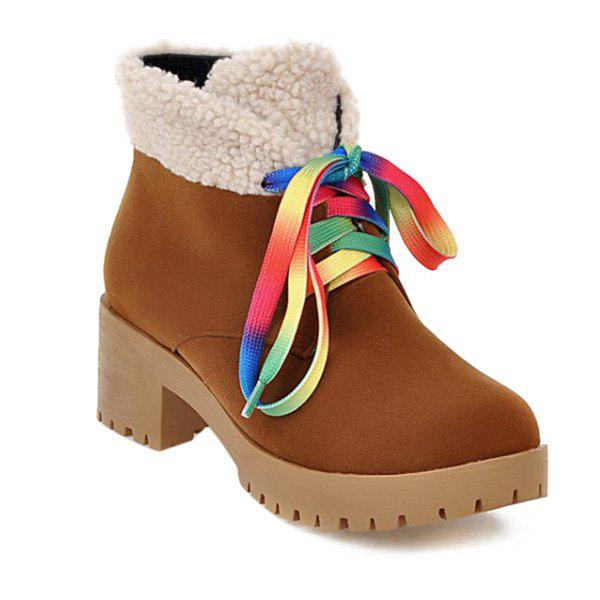 Tie Up Color Block Splicing Ankle Boots - BROWN 39