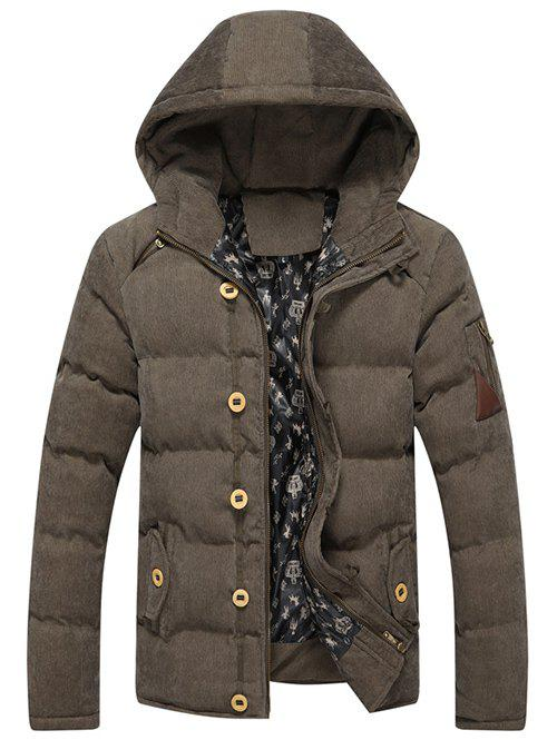 Buy Zipper Fly Hooded Padded Suede Coat ARMY GREEN