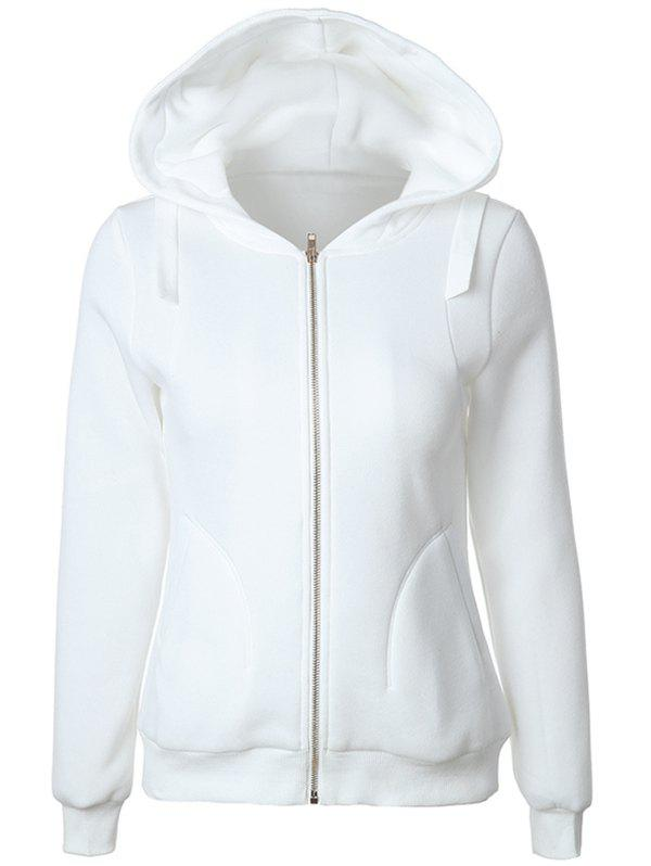 Casual Long Sleeve Pockets Zipper Up Hoodie - WHITE L