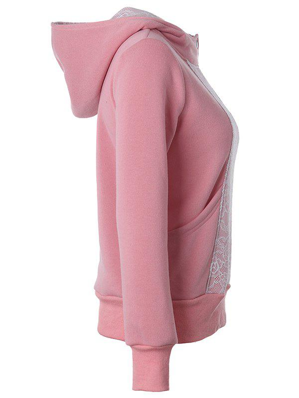 Casual Long Sleeve Lace Spliced Pullover Hoodie - PINK S