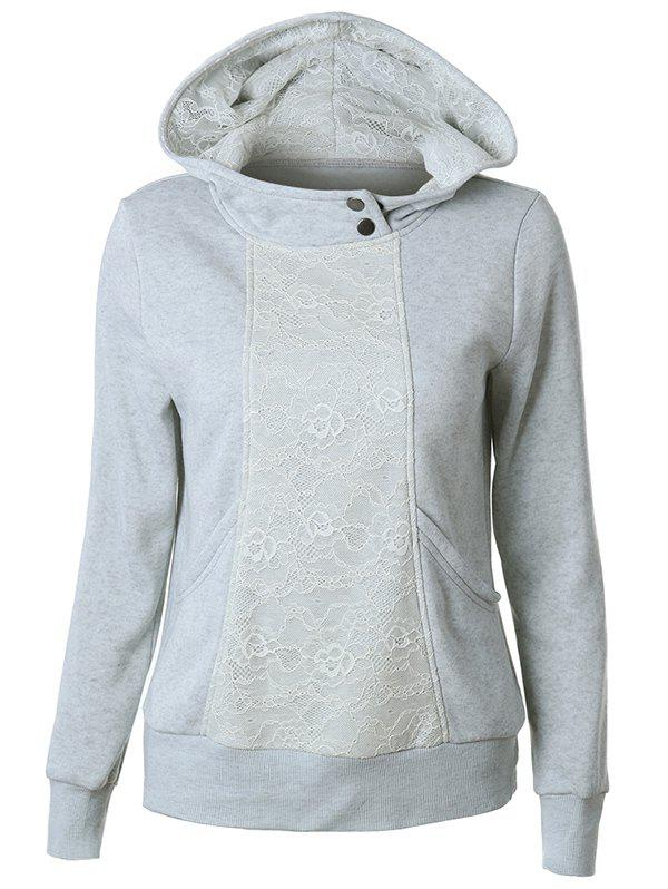 Casual Long Sleeve Lace Spliced Pullover Hoodie - GRAY S