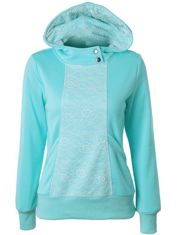 Casual Long Sleeve Lace Spliced Pullover Hoodie - AZURE M