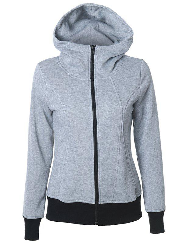 Casual Pockets Long Sleeve Zipper Up Hoodie - GRAY S