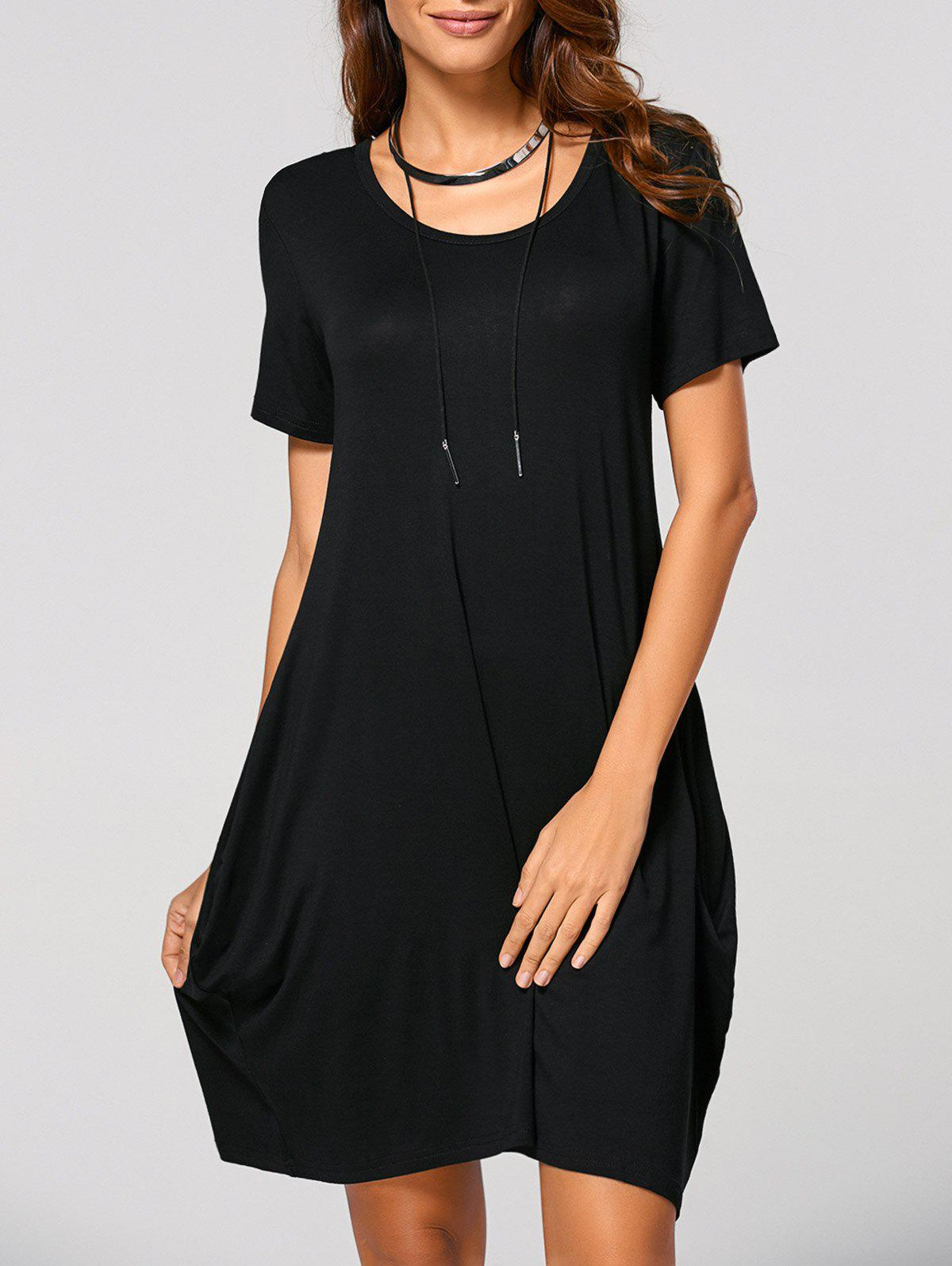 Short Sleeve Ruched Dress - BLACK L
