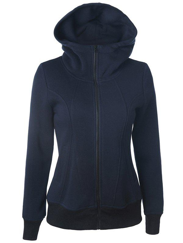Casual Pockets Long Sleeve Zipper Up Hoodie - PURPLISH BLUE S