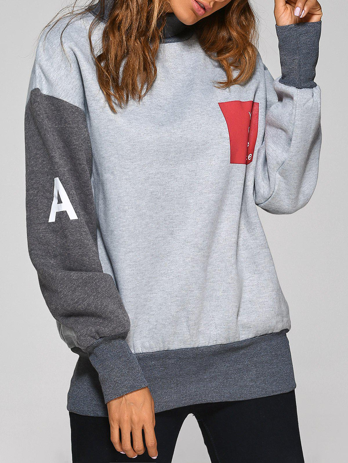 Moyenne Col Gris Sweatshirt 2018 Haut Patch Graphique In Taille 0pwS0qPHnW