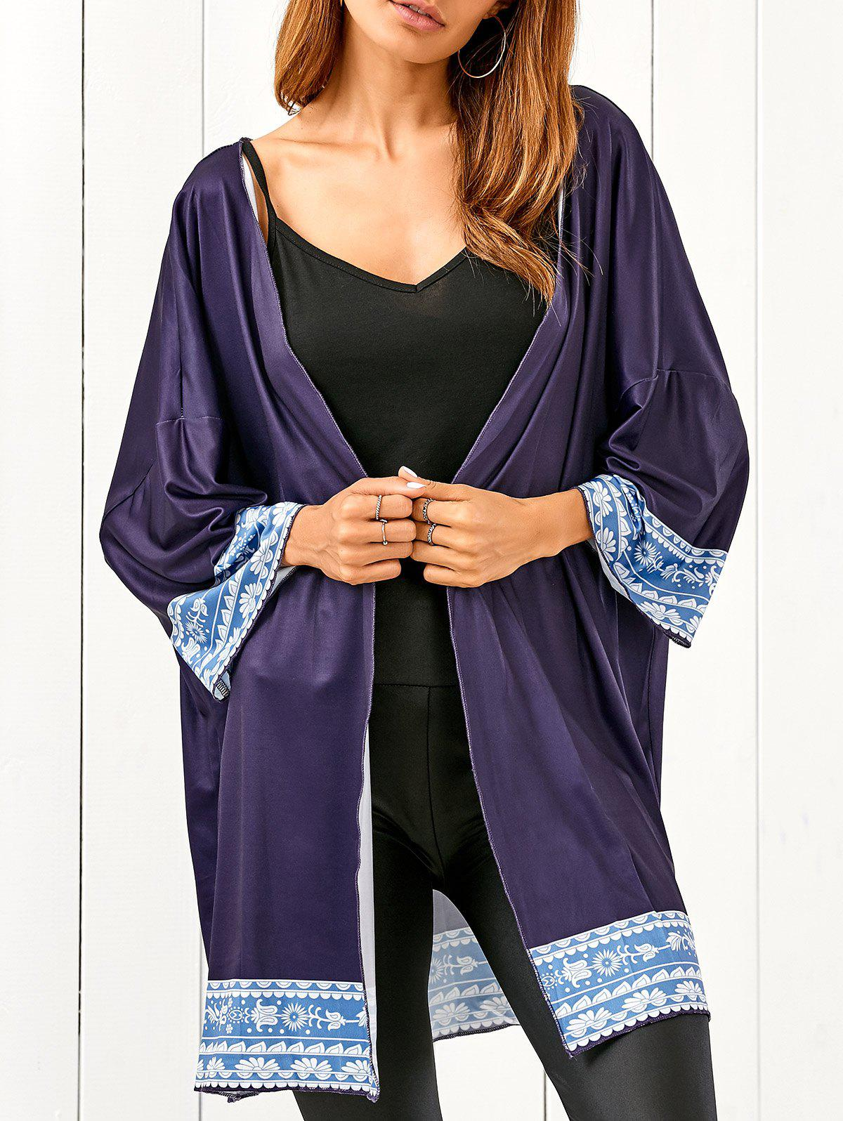 Bat-Wing Sleeve Printed Beach Cover Up - BLACK BLUE ONE SIZE