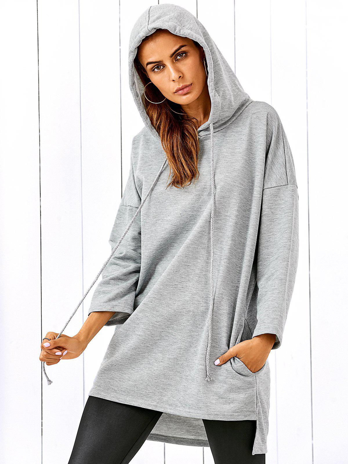 Sweat à Capuche Long Épaules Tombantes - gris L