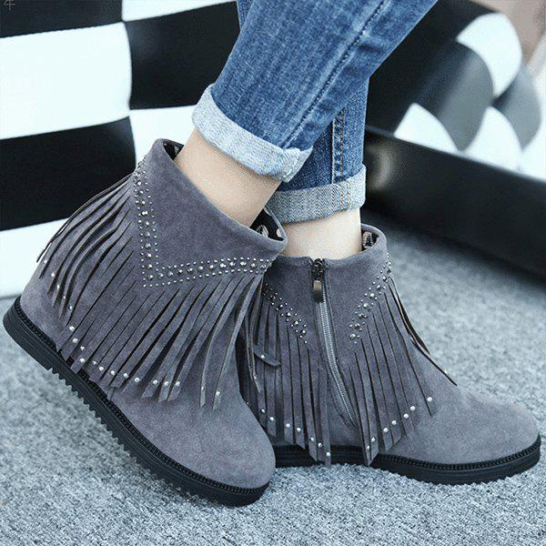 Rhinestones Hidden Wedge Fringe Ankle Boots - DEEP GRAY 38