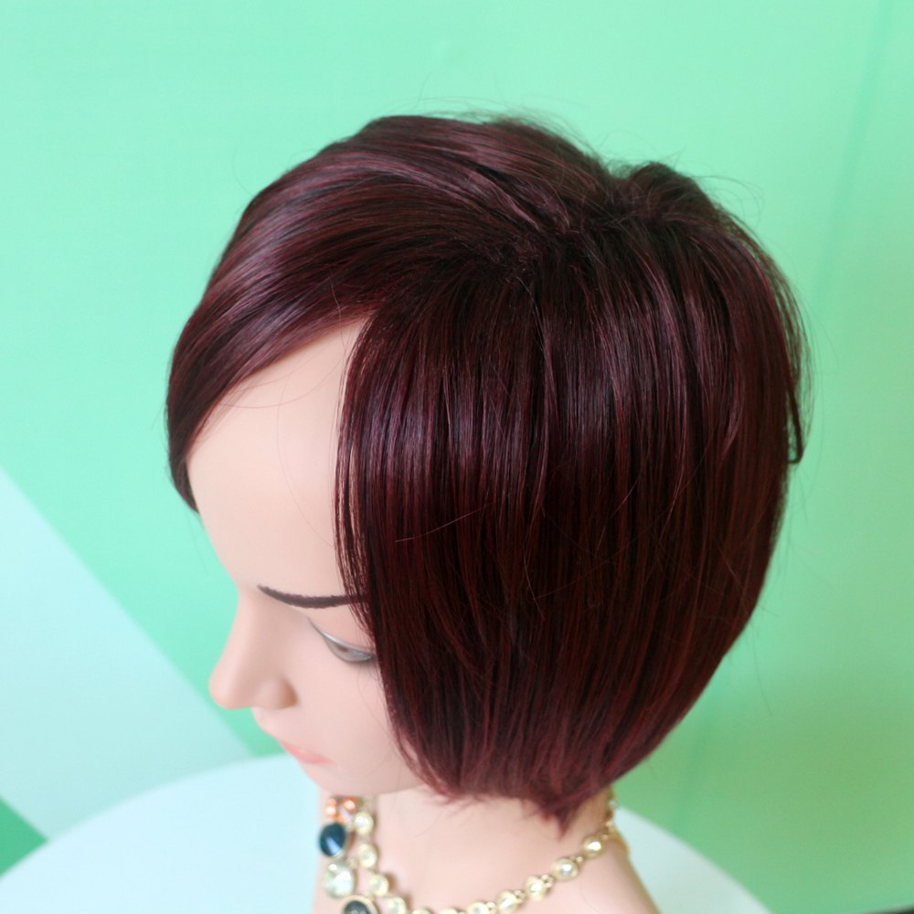 Wine Red Mixed Stunning Short Straight Side Parting Synthetic Wig