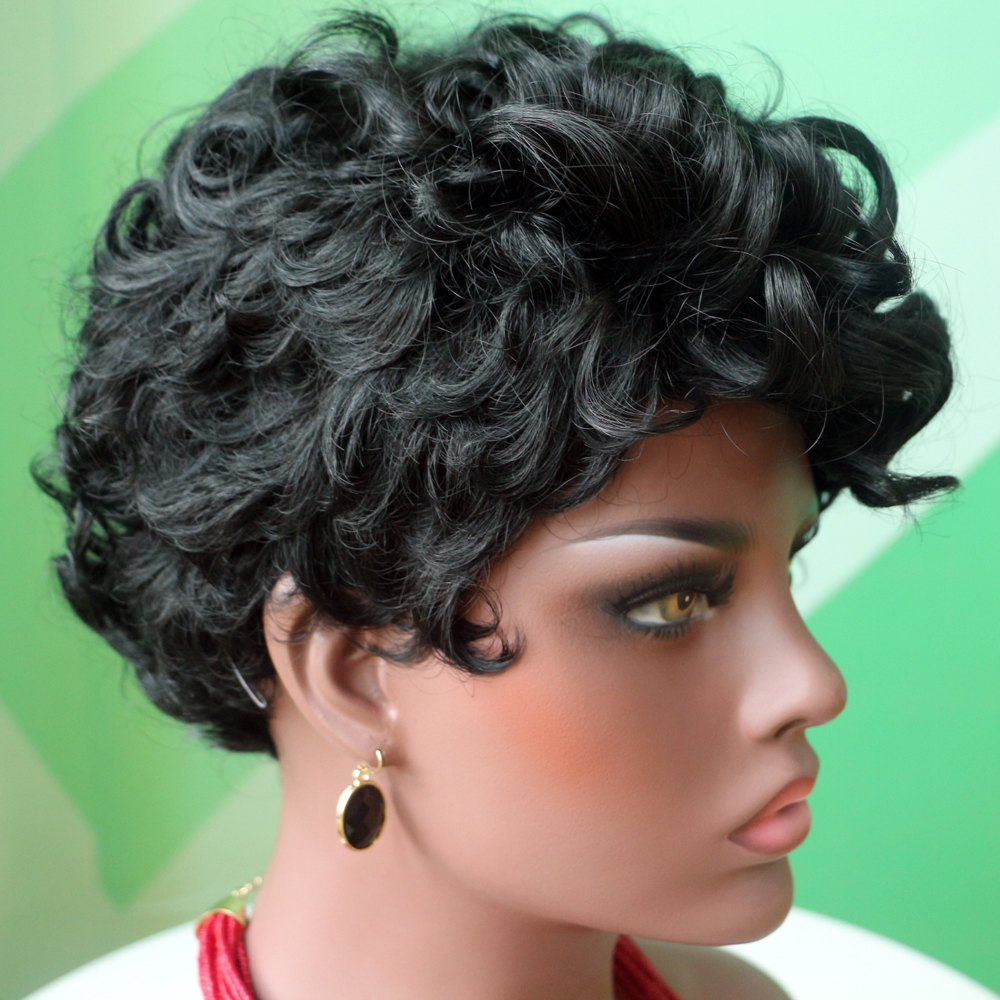 Fashion Side Parting Short Fluffy Curly Black Synthetic Wig