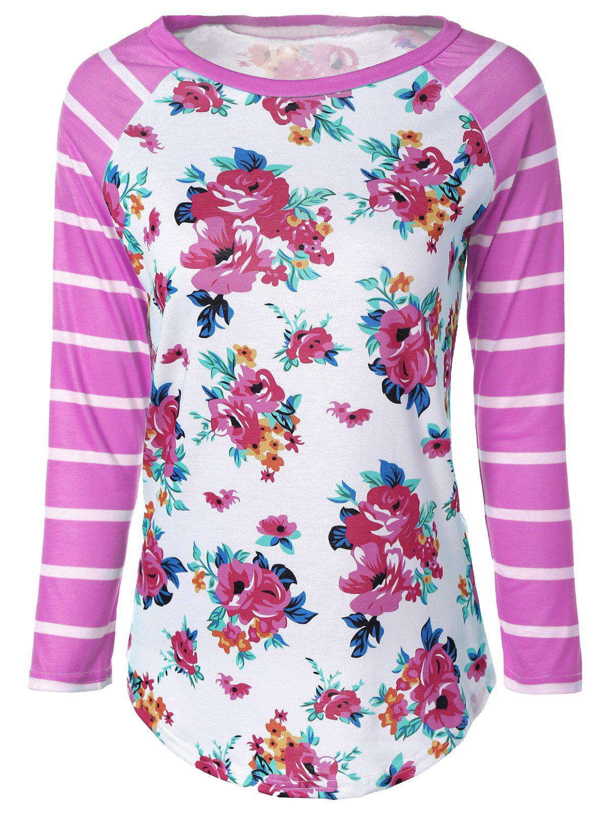 Flower Print Striped Raglan Sleeves T-Shirt - PINK L