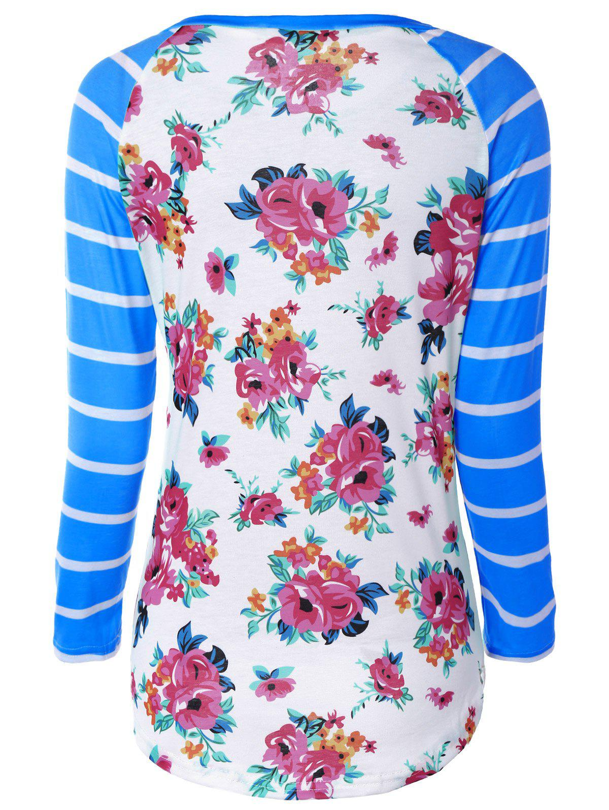 Flower Print Striped Raglan Sleeves T-Shirt - BLUE S