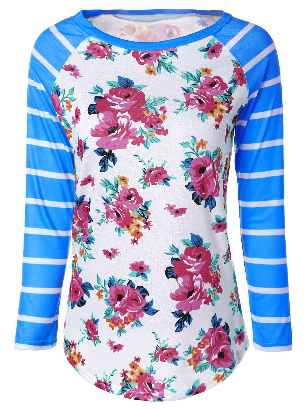 Flower Print Striped Raglan Sleeves T-Shirt - BLUE M