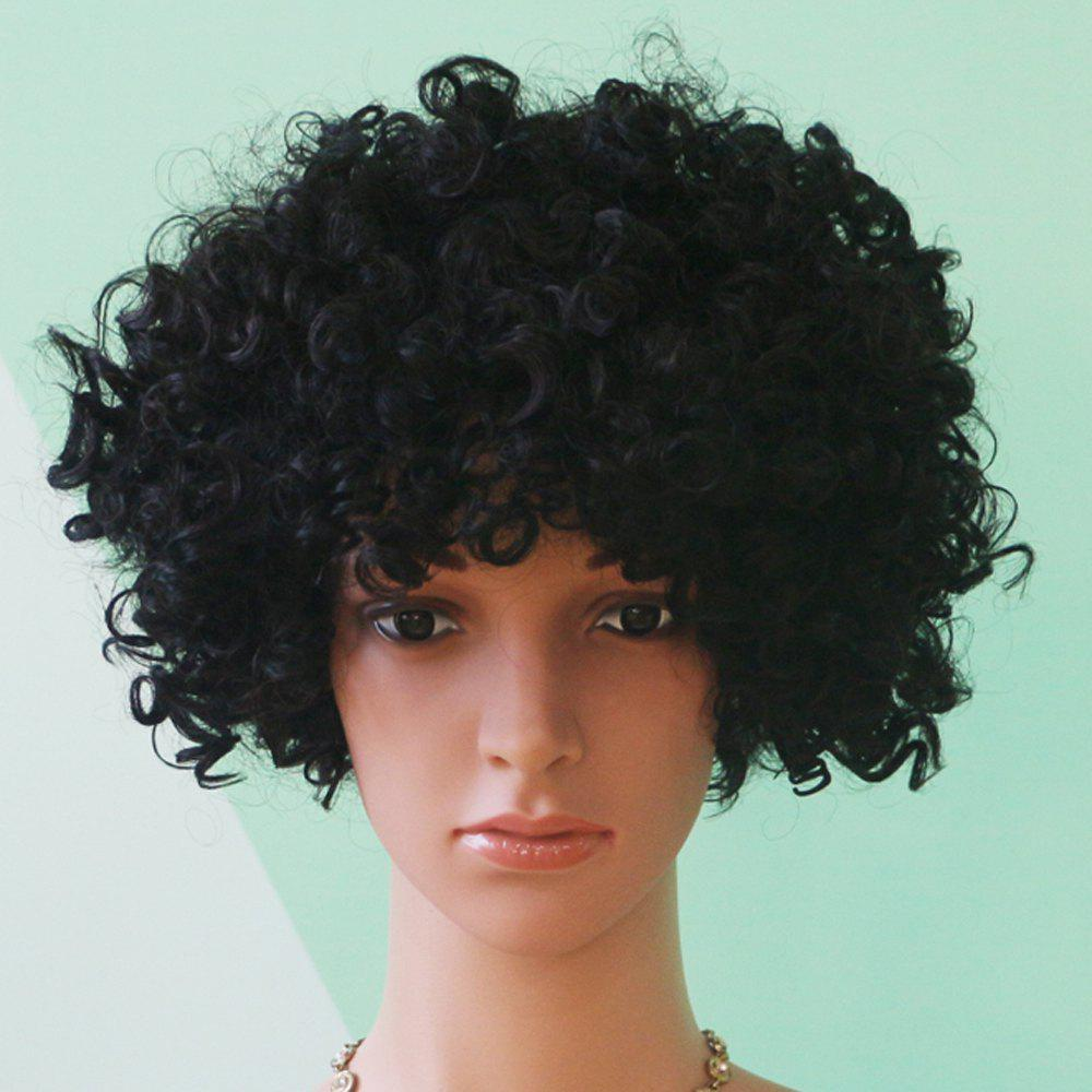 Prevailing Short Full Bang Afro Curly Black Synthetic Hair Wig new short black curly wig afro african american wigs for black women star fashion synthetic hair free shipping