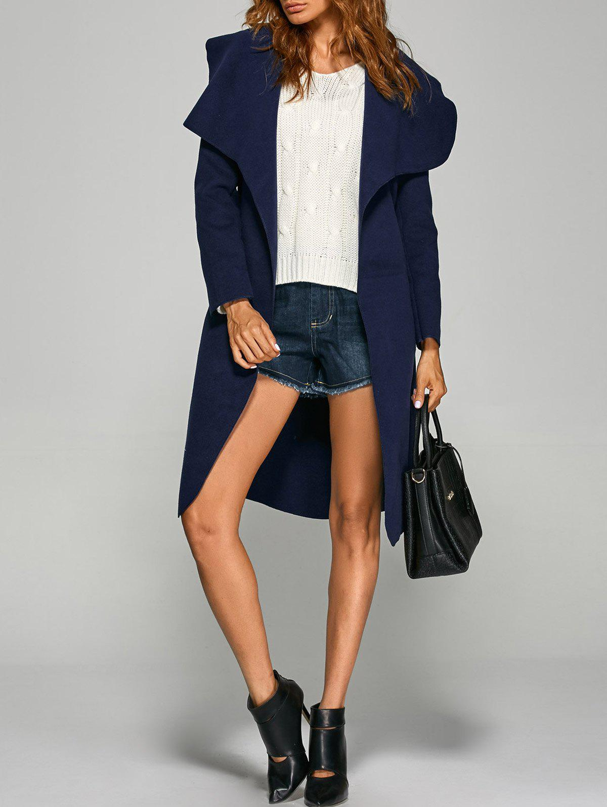 Belted Wrap Shawl Duster Coat - PURPLISH BLUE M