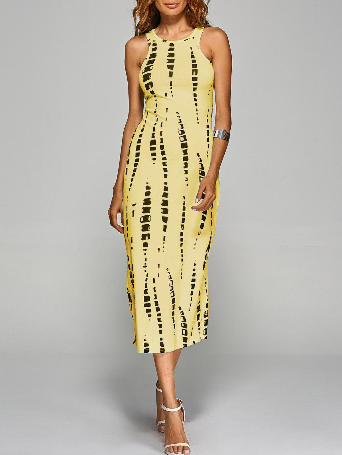 Jewel Neck Tie-Dyed Back Cut Out Bodycon Midi Dress - YELLOW M